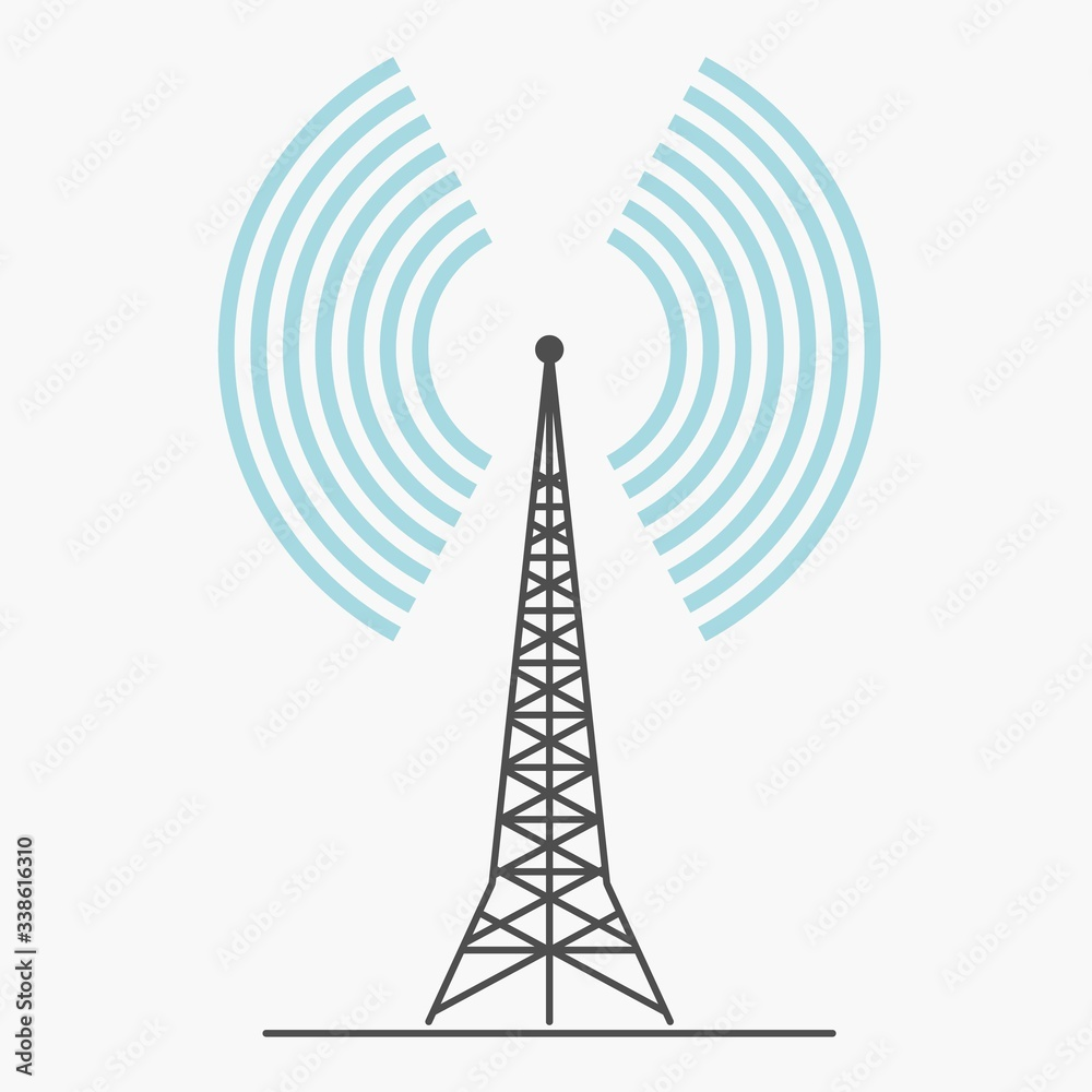 Fototapeta telecommunications signal transmitter. Vector illustration icon of a radio tower silhouette. Telecommunications and broadcasting industry concept icon.