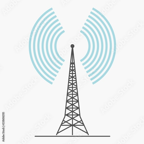 telecommunications signal transmitter. Vector illustration icon of a radio tower silhouette. Telecommunications and broadcasting industry concept icon.