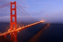 Illuminated Golden Gate Bridge At Dusk