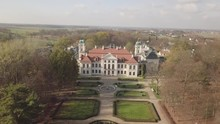 Aerial Autumn View To Zamoyski Palace In Kozlowka. Rococo And Neoclassical Palace Complex Located In Kozlowka Near Lublin, Eastern Poland