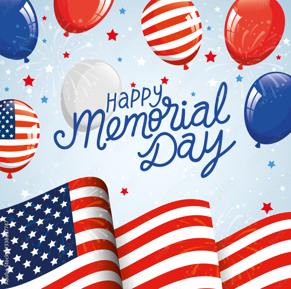 Fototapeta happy memorial day with flag usa and balloons helium decoration vector illustration design