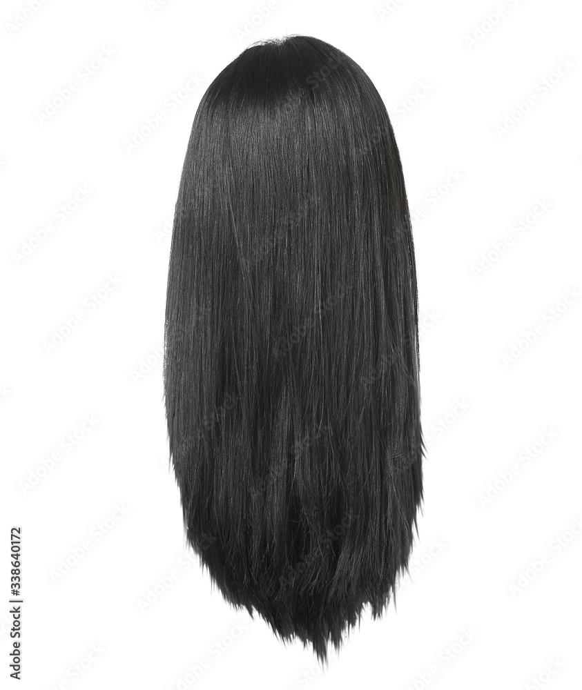 Fototapeta Black female hair on white background