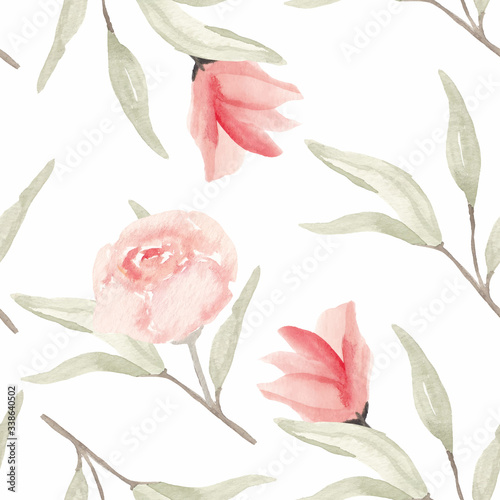 Tapeta różowa  hand-painted-watercolor-floral-seamless-pattern