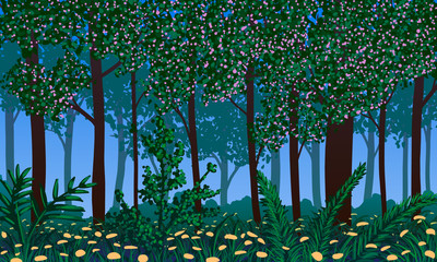 Panel Szklany Inspiracje na wiosnę Spring landscape. Blossoming forest and flowers on ground. abstract vector illustration.