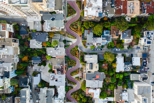 Top-down drone photo of a zig-zag road in California. Canvas Print