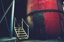 Steps By Rusty Water Tank