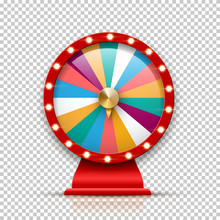 3d Fortune Wheel For Gambling And Lottery Win Isolated On Transparent Background. Roulette Vector Illustration For Game And Win Jackpot Blank Template.