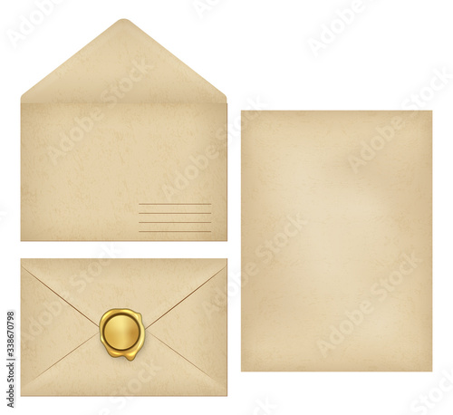 Fototapeta Vintage envelope with place for address, empty old grunge paper writing letter, golden wax seal postmark for sealed greeting, invitation postcard on closed mail flat set. Vector illustration. obraz