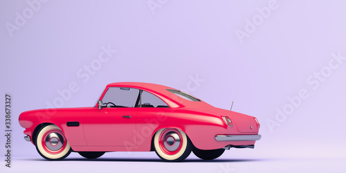 Stylized, toy looking vintage car. 3d render.