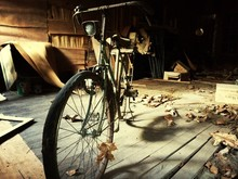 Old Bicycle In Garage
