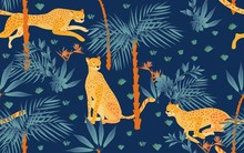 Seamless Pattern With Tropical Print On A Beige, Cream Background. Running, Hunting And Seated Jaguars In The Jungle. Trees, Palm Leaves, Plants, Strelitzia Flowers And Animals Of The Rainy Forest.