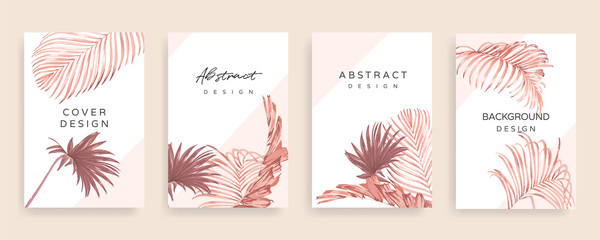 Rose gold summer Tropical palm leaves cover design template vector. Social media stories and post creative Vector set.