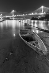 Fototapeta Mosty Ting Kau Bridge and Tsing Ma Bridge in Hong Kong at night