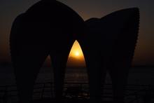 Silhouette Of Modern Gazebo On Beach