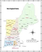 Administrative Vector Map Of The Five New England States, United States