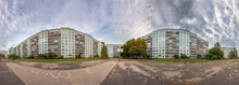 Soviet Time Apartment Blocks District 360 Degree Panorama In Riga, Latvia