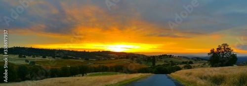 Panoramic View Of Landscape Against Sky During Sunset #338697937