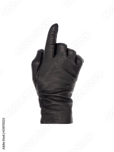 Vászonkép Isolated woman's hand wearing a black leather glove palm down, in a pointing ges