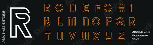 Tablou Canvas Double line monogram alphabet and technology font