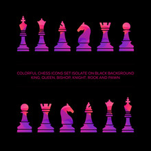 Colorful Chess Icons Set Isolate On Black Background - King, Queen, Bishop, Knight, Rook, Pawn, Minister, Elephant, Horse, Boat, Soldier. Vector Colorful Chess Piece Set For Logo Design