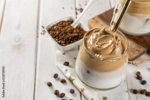 Coffee trend - dalgona coffee, whipped instant coffee on rustic background, copy Canvas Print