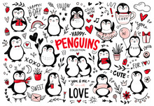 Doodle Penguins, Hand Drawn Set Of Funny Animals. Vector Penguin Character In Sketch Style.