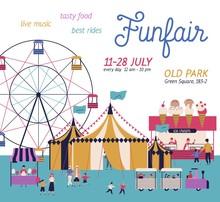 Amusement Park Poster With Cir...
