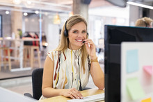 Smiling Call Center Operator A...