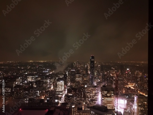 Fototapety, obrazy: High Angle View Of Modern Buildings In City At Night