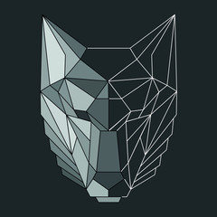 Vector polygonal origami geometric linear colored wolf