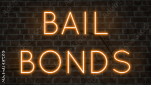 Neon BAIL BONDS sign on a brick wall at night
