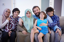 Muslim Family Portrait  At Home