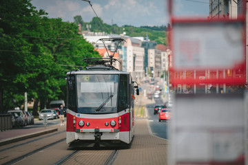 red tram in the city