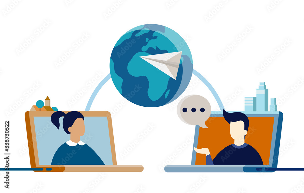 Fototapeta Flat vector illustration of two people from other sides of world talking on video chat - social media, long distance relationship, online network