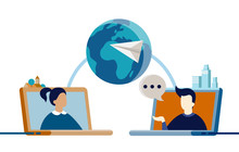 Flat Vector Illustration Of Two People From Other Sides Of World Talking On Video Chat - Social Media, Long Distance Relationship, Online Network