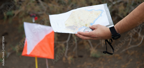 Man holding map Canvas Print