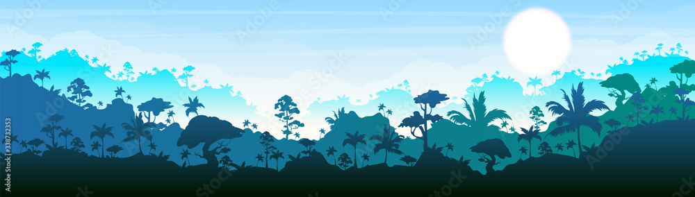 Fototapeta Jungle flat color vector illustration. Blue forest scenery. Bright panoramic woods. Tropical scenic nature. Idyllic environment. Rainforest 2D cartoon landscape with layers on background