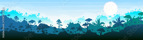 Obraz Jungle flat color vector illustration. Blue forest scenery. Bright panoramic woods. Tropical scenic nature. Idyllic environment. Rainforest 2D cartoon landscape with layers on background - fototapety do salonu