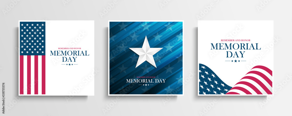Fototapeta USA Memorial Day greeting cards collection with Silver Star and United States national flag. Remember and honor. United States national holiday vector illustration.