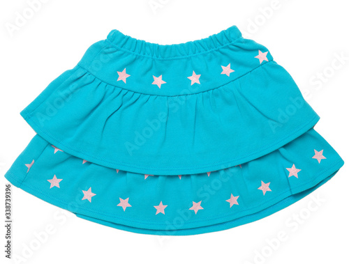 Fototapeta Blue skirt with stars for girl, isolated on white background