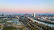 Aerial picture of Frankfurt skyline and European Central Bank building during sunrise in morning twilight
