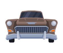 Front View Of Retro Car, Vinta...
