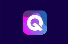 Pink Blue Q Alphabet Letter Logo Design Icon For Company And Business