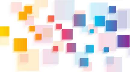Fototapeta Wzory geometryczne Colorful glossy squares abstract tech geometric background. Vector illustration