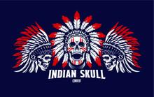 Set Skull Head Chief Indian, Design Element For Logo, Poster, Card, Banner, Emblem, T Shirt. Vector Illustration