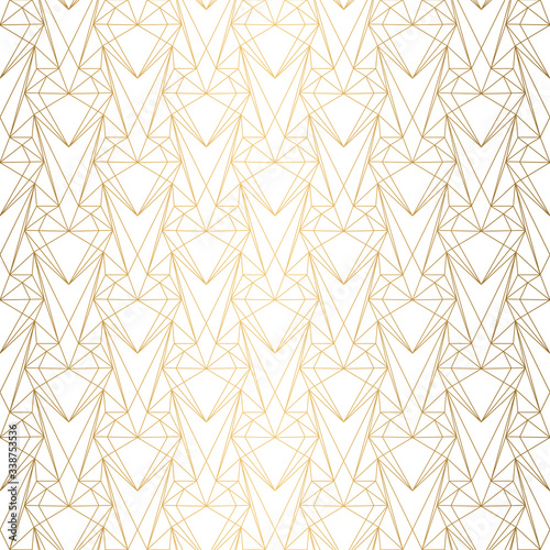 Art Deco Pattern from hearts. Seamless white and gold background