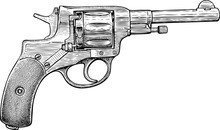 Hand Drawn Of Revolver Of The ...