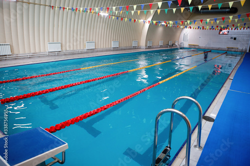 Photo Swimming lanes in the sports pool.