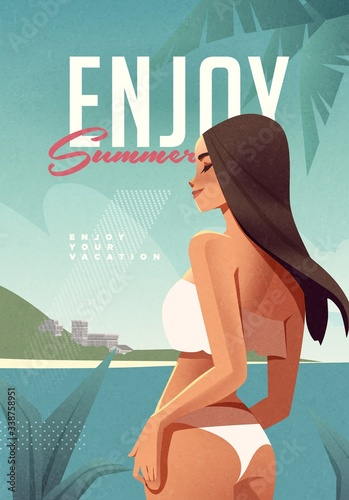 Girl relaxing on the beach. Summer vacation poster or flyer design template with sexy female on the beach. Party invitation. Modern style. Vector illustration