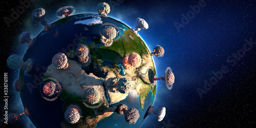 The concept of planet Earth similar to the COVID-19 virus Canvas Print